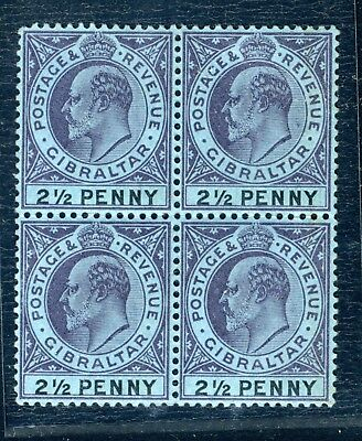 Gibraltar King Edward VII 2 1/2d blue unmounted mint block of four