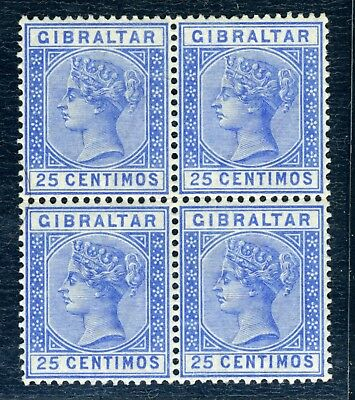 Gibraltar Queen Victoria  25c blue unmounted/mounted mint block of four