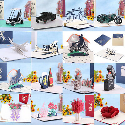 3D Greeting Card Pop Up Paper Father's Day Birthday Wedding Valentines Postcard