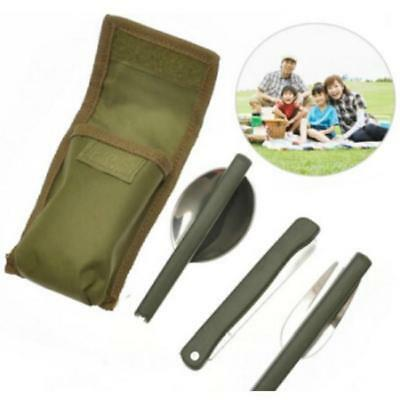 3pc Stainless Steel Folding Cutlery Set Blade Fork Spoon Tool Camping Hiking LG