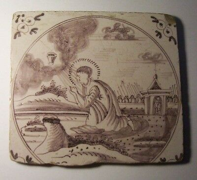 Delft Tile c. 18th / 19th century   (D 32 )  The  Agony in the Garden