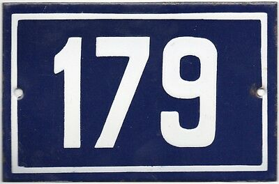 Old blue French house number 179 door gate plate plaque enamel steel metal sign