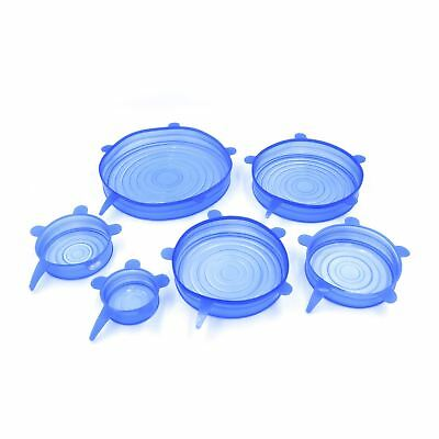 Blue Reusable Silicone Stretch Suction Cover Lid Wraps for Bowls Fruit Cans