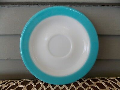 Vintage Pyrex Dinnerware 6 1/4  Saucer Plate with Turquoise Blue Rim Band & VINTAGE PYREX DINNERWARE 6 1/4