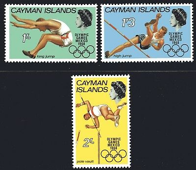 Cayman Islands 1968 Olympic Games set of 3 Mint Unhinged