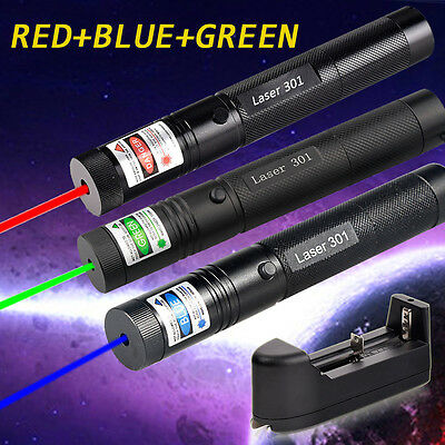 3pc Military Red Green Blue Laser Pointer Pen Visible Beam Light + 18650 Battery