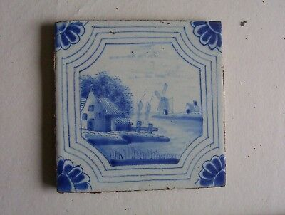 Delft Tile c. 18th / 19th century   (D 69)   Boats windmill and cottage
