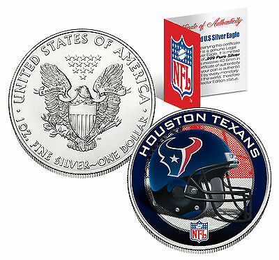 HOUSTON TEXANS 1 Oz .999 Fine Silver American Eagle US Coin NFL LICENSED