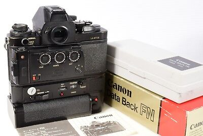SUPERB! CANON NEW F-1n DATA BACK FN FULLY TESTED! NEW BATTERY + MANUAL CASE &BOX