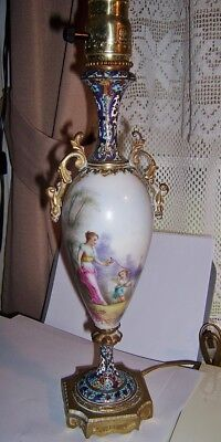 Antique French Porcelain And Enamel  Hand painted signed R Roche vase.urn lamp