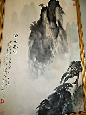 CHINESE Watercolour Painting PICTURE SCROLL LANDSCAPE ANTIQUE Hand Painted OLD