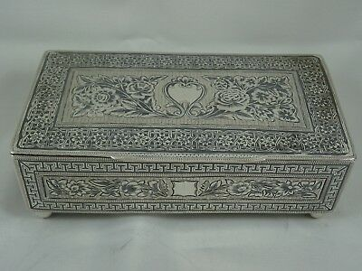 STUNNING, PERSIAN  solid silver & NIELLO CIGARETTE BOX, c1930, 420gm