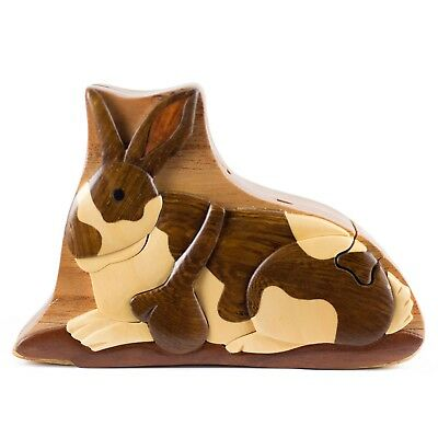 Wood Intarsia Rabbit Puzzle Box - Secret Trinket Box Inside! Handmade New In Box