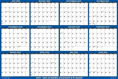 2018 2019 Academic Dry Erase Wall Calendar Yearly Planner Classic Blue 18x24
