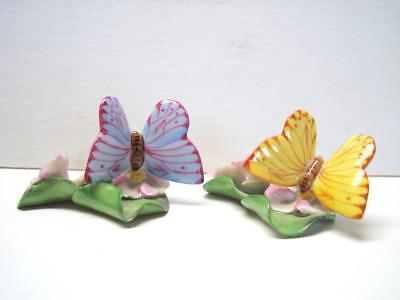 2 Butterfly on Leaf Place Card Holders Herend Hungary - Pink + Yellow colors