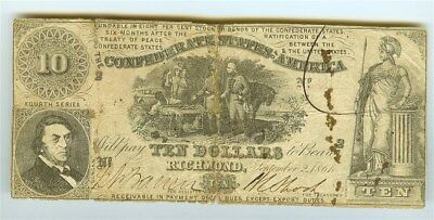 1861 Confederate States Of America $10 Note