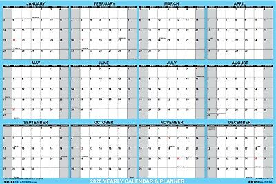 SwiftGlimpse 2019 Dry Erase Wall Calendar Planner - Planning at a glance 18x24