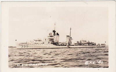 RPPC,USS Drayton (DD-366),Destroyer,World War II,Stone Photo,1940s