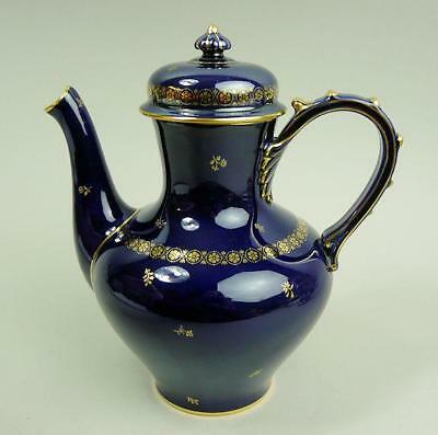 Exquisite Antique Sevres Dore Porcelain Cobalt Blue Coffee Pot C.1850