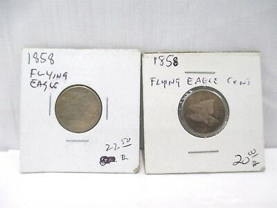 2x 1858 Flying Eagle Cent One-Cent United States Of America Coins