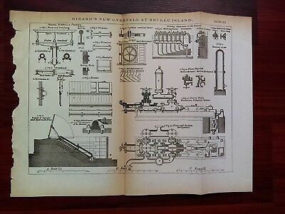 1873 Engineering Diagram Showing Girards New Overfall at Brulee Island Hydraulic