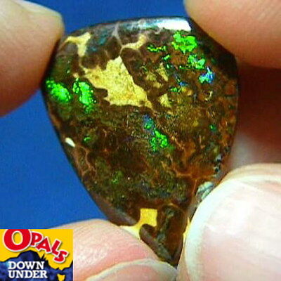 Flashy Colors * 13ct Natural Australian Solid Matrix Boulder Opal * See Video