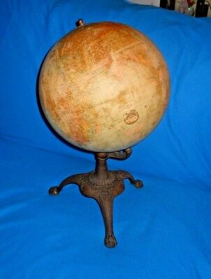 "Vintage 1920's J.L. Hammett Co. Art Deco 12"" Terrestrial World Globe with Stand"