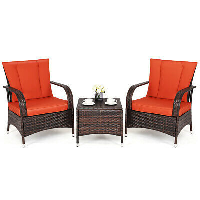 3PC Outdoor Patio Mix Brown Rattan Wicker Furniture Set Seat Cushioned Orange