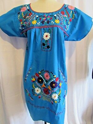 Authentic Mexican Handmade Blue W Multicolor Hand Embroidered Dress, Sz M Nwot