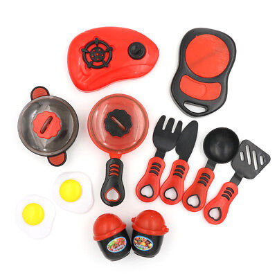 1Set Kids Play House Toy Kitchen Utensil Cooking Pots Pans Food Dishe CookwareJR