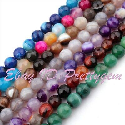 """10mm Round Faceted Stripe Agate Natural Gemstone Beads For Jewelry Making 15"""""""