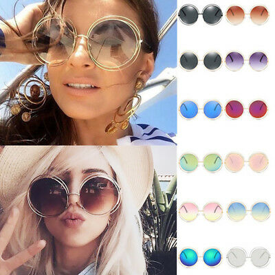 Women Vintage Oversized Sunglasses Cool Retro Fashion Glasses Round Mirror Lens