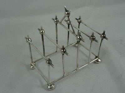 SUPERB, solid silver `Christopher Dresser` style, TOAST RACK, 1916, 63gm
