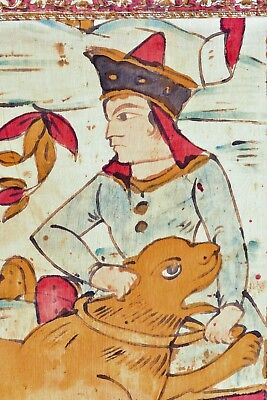 EARLY 19th C. ANTIQUE PERSIA OR INDIA KALAMKARI FIGURAL HUNTING TEXTILE TAPESTRY