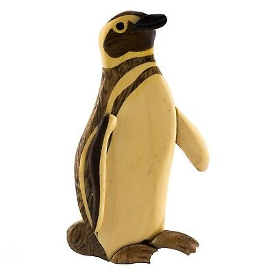"Wood Intarsia Penguin Magnet 4"" Handcrafted New!"
