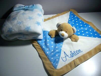 Personalised Baby Teddy Comforter with Blanket Gift Set  Any Name- Blue