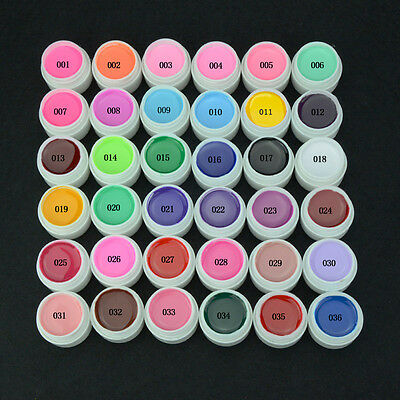 36 Pure Color Pots Elite99 Soak Off UV Gel Nail Art Tips Extension Manicure Kit