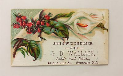 1880s antique WEINHEIMER WALLACE BOOTS SHOES syracuse ny VICTORIAN TRADE CARD