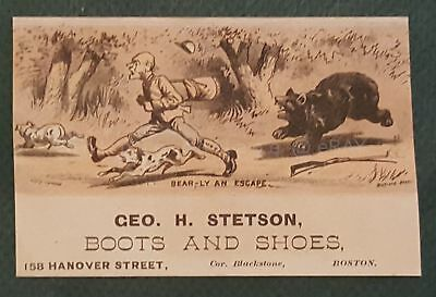 1880s antique GEO H STETSON BOOTS SHOES boston ma VICTORIAN TRADE CARD blk bear
