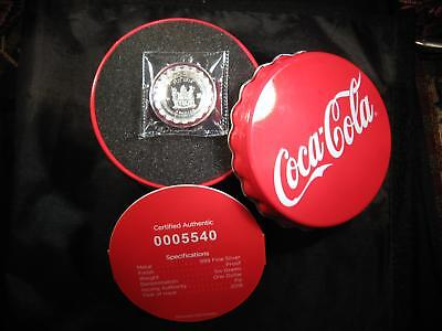 2018 Coca-Cola Bottle Cap Shaped 6g Silver $1 Coin w/COA VERY LOW 25,000 MINTED