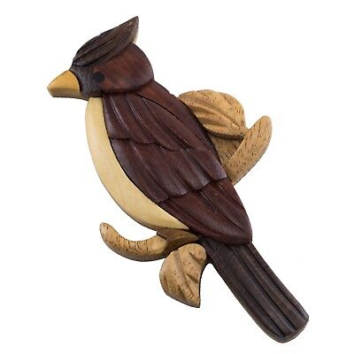 "Wood Intarsia Cardinal Bird Magnet 3.25"" High Handcrafted New!"