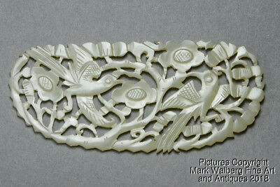Chinese Carved Nephrite Jade Plaque, Pierced, Birds & Flowers, 19th Century
