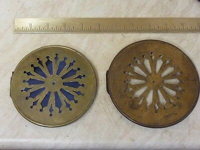 2 Antique French Clock Pierced Brass Back Doors (B1)