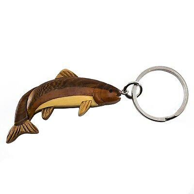 """Wood Intarsia Trout Fish Keychain Key Ring Handcrafted 2.5"""" Long New!"""