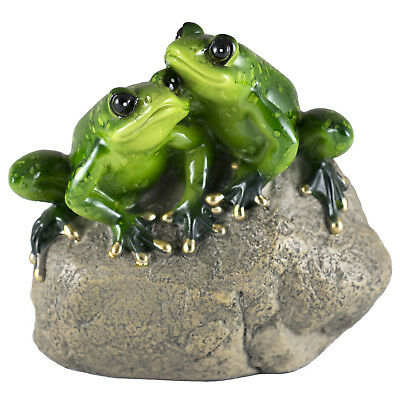 """Frog Couple On Rock Figurine 4"""" High Glossy Finish All Resin New!"""