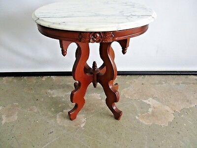 Antique Rosewood Reproduction Lamp Table Plant Stand W/ Italian Marble Top Table