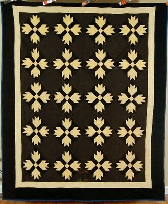 AUTHENTIC AMISH Vintage Bear Paw Antique Quilt ~BLACK BACKGROUND Signed & Dated!