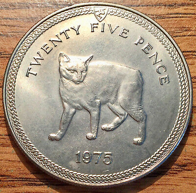1975 Isle of Man 25 Pence Manx Cat Coin Condition Uncirculated+