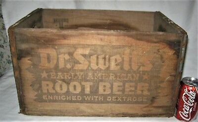 Antique Country American Dr Swetts Root Beer Soda Bottle Wood Box Crate Art Sign