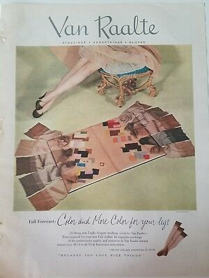 1953 VAN RAALTE women's nylon stockings Hosiery LEGS fall forecast colors ad